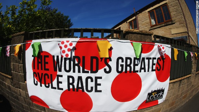 Banners advertising the Tour de France can be seen at the site of stage one of the tour as Yorkshire and Leeds prepares to host Le Grand Depart.
