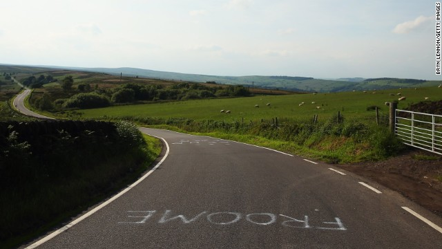2013 Tour de France winner Froome's name is painted on the road mimicking a stop sign as Yorkshire prepares itself to be a site in the Tour de France's Grand Depart.