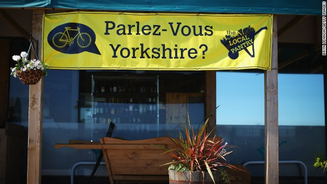 Yorkshire has getting into the French flavor of the Tour and signs like this one have been popping up all over the route.