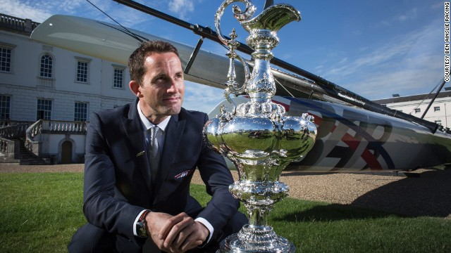 Ainslie poses with the America's Cup outside London's Maritime Museum. Britain has never won the coveted trophy despite hosting the first ever edition of the event in 1851.