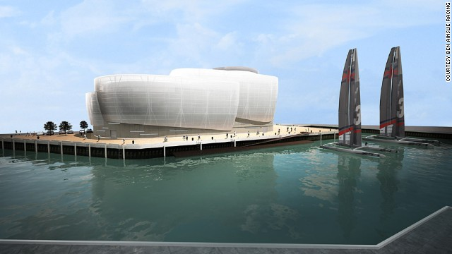 An architect's vision of the Ben Ainslie Racing team base in Portsmouth, England. The facility will become a focal point for the design, construction and development of the BAR team's boats and will also provide sports science and fitness facilities