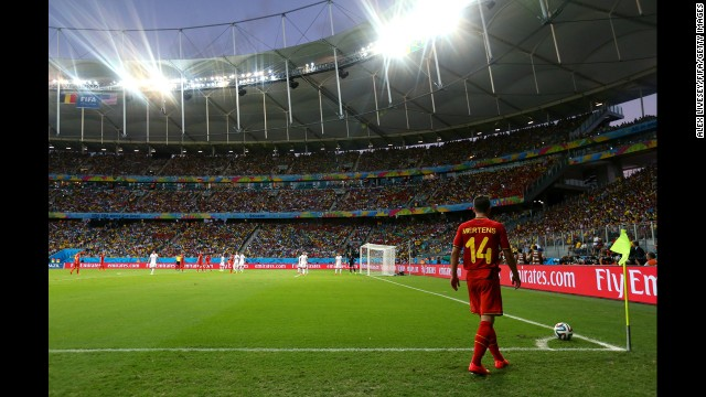 Dries Mertens of Belgium takes a corner kick.