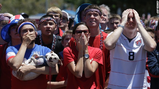 Fans in San Francisco react as they watch the Belgium match.