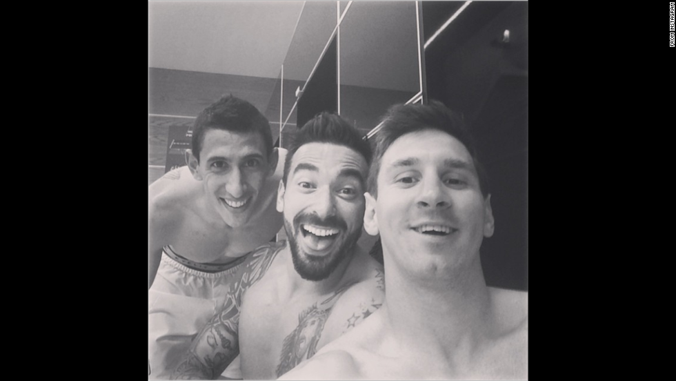 "Argentina soccer star Lionel Messi, right, posted this locker-room selfie on Tuesday, July 1, after he and his teammates defeated Switzerland to advance to the quarterfinals of the World Cup. ""Nobody said it was an easy game,"" Messi said <a href='http://instagram.com/p/p63jrOPMzQ/' target='_blank'>on his Instagram account</a>. ""Another big step."" Next to Messi in this selfie are Ezequiel Lavezzi, center, and Angel Di Maria, who scored the game's only goal."