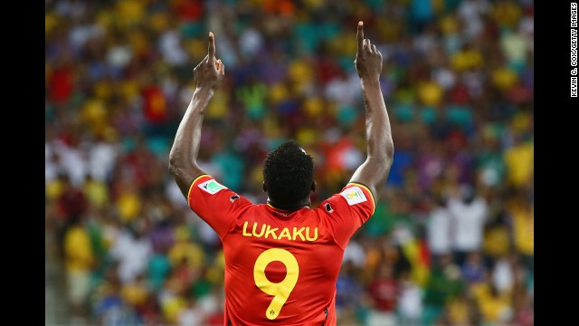 Romelu Lukaku of Belgium celebrates scoring his team's second goal.