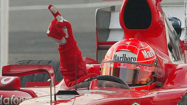 Schumacher won five world titles with Ferrari. The last of them -- his seventh overall -- came in 2005. His collection of world titles remains unbeaten in the sport's history.