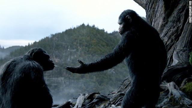 Andy Serkis brings life to simian Caesar (right) in 20th Century Fox's