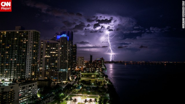 Summer in Florida means hurricane season. <a href='http://ireport.cnn.com/docs/DOC-1149081'>Madeline Belt</a> captured this image of what would become Hurricane Arthur, the first of the 2014 season, passing over Miami.