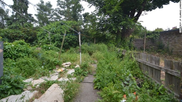 Like the rest of the property, the unkempt back garden requires a lot of work.