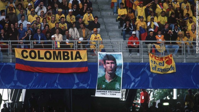 Escobar's death was linked to drug lords who had suffered big gambling losses due to Colombia's exit at the group stage but nothing was ever proven. He has been remembered by the country's fans ever since, like here, at the 1998 World Cup in France.