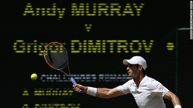 Defending Wimbledon champion Andy Murray took on Bulgaria's Grigor Dimitrov in the quarterfinals Wednesday.