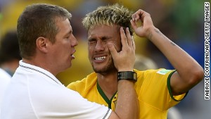 Brazil star Neymar breaks down in sheer relief after the win over Chile.