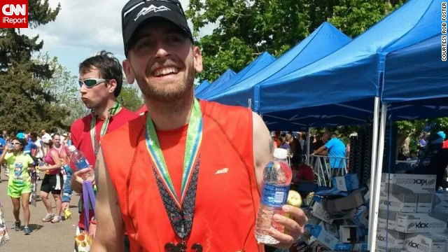 "Rob, who previously thought going for a run was ""unappealing to the point of agony,"" completed a marathon on May 18, 2014."