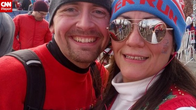 "Rob and Jess ran the ""Ugly Sweater Run"" again in December 2013. Rob improved on the previous year's"