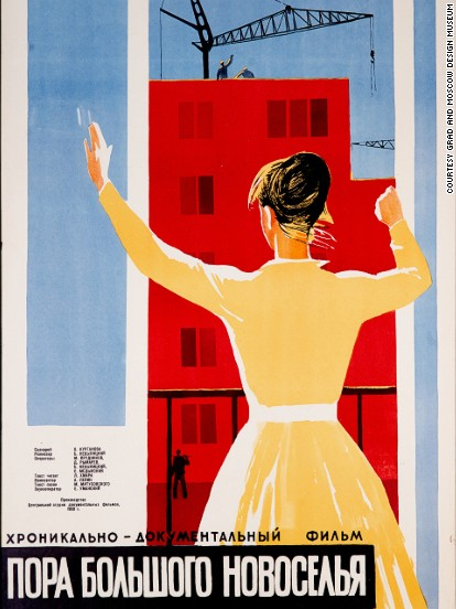 "<strong>""It's Time for a Grand Housewarming,"" poster for a 1959 Soviet documentary on new urban reforms. </strong><!-- --> </br><!-- --> </br>The era of de-Stalinization in 1950s Soviet Russia was dominated by sweeping political reforms that put an end to forced labor and marked a split from the cult of personality that surrounded Stalin during his 30-year reign.<!-- --> </br><!-- --> </br>But there was a more subtle cultural shift too. A new, characterful style of design emerged -- typified by futuristic consumer goods like fridges, scooters and vacuum cleaners. <!-- --> </br><!-- --> </br>Fueled by a desire to match the quality of life enjoyed by their U.S. rivals, the then Soviet leader Nikita Khruschev built huge numbers of standardized apartment blocks or ""Khrushchyovkas"" across the USSR -- while Soviet designers raced to come up with goods to fill them.<!-- --> </br><!-- --> </br>Today these objects offer a colorful glimpse into daily life behind the Iron Curtain..."