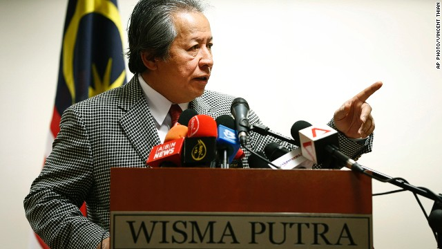 Malaysia's Foreign Minister Anifah Aman discusses the case at a press conference in Putrajaya.