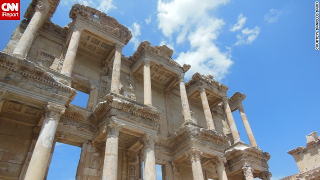 "The ancient Library of Celsus in Ephesus, Turkey, was once one of the largest in the ancient world. ""I loved walking through the ancient city and all the ruins, and the feeling of being connected to something so old that had survived and seen so much over the centuries,"" said Danielle Davis, who visited the site in May 2012."