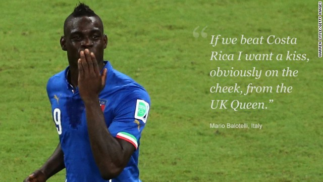 Mario Balotelli is well known to English fans, having spent three incident-packed seasons with Manchester City. After losing to Balotelli's Italy in its opening match, England needed a favor from the Azzurri to have any chance of reaching the round of 16. England lost to Uruguay in its second game, meaning only a win for Italy against Costa Rica could preserve its slender hopes of qualification. Balotelli was happy to help his former adopted homeland, but at a price; the striker wanted a kiss from Queen Elizabeth II. In the end, Her Majesty had no cause for alarm. Costa Rica beat Italy 1-0, condemning Balotelli's team and England to a early flight home.