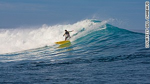 Offshore, the swell hits the outer reef to produce thick and hollow waves. \n
