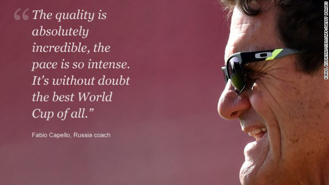 Russia coach Fabio Capello was impressed with what he saw at the World Cup, and who could blame him? The group stage provided bucket loads of goals, thrills and spills galore and more tales of David overcoming Goliath than the Old Testament. Capello had just one small problem; the pace was just too much for his Russian players. The hosts of the 2018 World Cup were out of step with their dry, low-tempo football in a competition which was setting pulses racing across the globe. Russia and Capello exited after failing to win any of its three matches in Brazil. A vast improvement will be expected on home soil in four years.