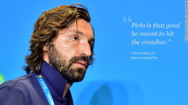 Balotelli's Italy teammate Andrea Pirlo is something of a cultural icon. Women want him, men want to be him, with every sublime swing of the midfielder's boot sending shockwaves of adoration throughout social media. The Juventus playmaker is also a master of taking free-kicks and when he sent a sumptuous long-distance shot crashing into the England crossbar in a Group D match, the football world produced a collective gasp. Such is his mastery of a deadball, French World Cup winner Thierry Henry proclaimed that Pirlo had intended to hit the frame of the goal, rather than find the back of England goalkeeper Joe Hart's net.