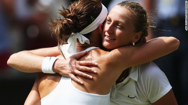 Kvitova and Safarova embrace at the end of their match.