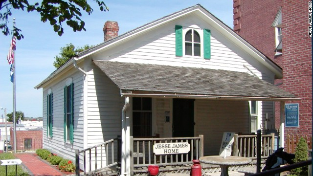 Jesse James was shot and killed in 1882 in his St. Joseph, Missouri, home by a member of his own gang. The house has been turned into a museum, holding artifacts of James' life and death.