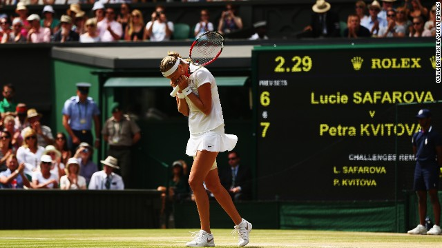 Bouchard will play Czech Petra Kvitova in the final. Here Kvitova celebrates after defeating compatriot Lucie Safarova 7-6 6-1 to reach her second Wimbledon final.