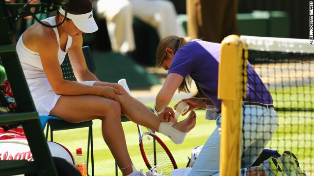 Halep had to receive treatment from the trainer for an ankle injury during the first set.