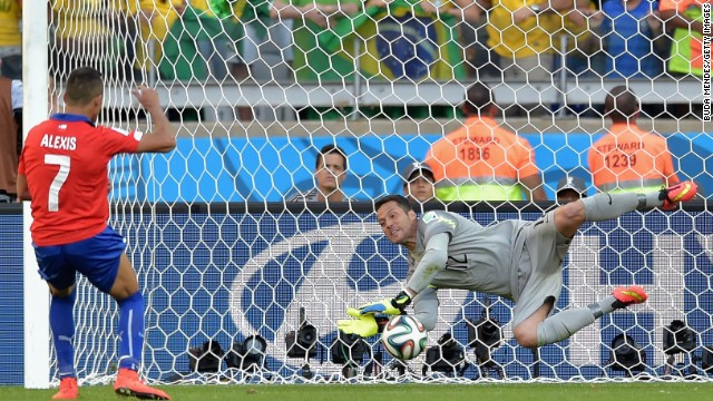 Julio Cesar was Brazil's stand-out performer in the penalty shoot out against Chile. His two saves helped Brazil through to the quarterfinals.