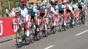 Ji Cheng leads the pack during the first stage of the Giro d\'Italia on May 4, 2013 in Naples.