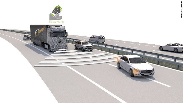 Mercedes' truck of the future should automatically keep its distance from other vehicles but not pass them automatically.