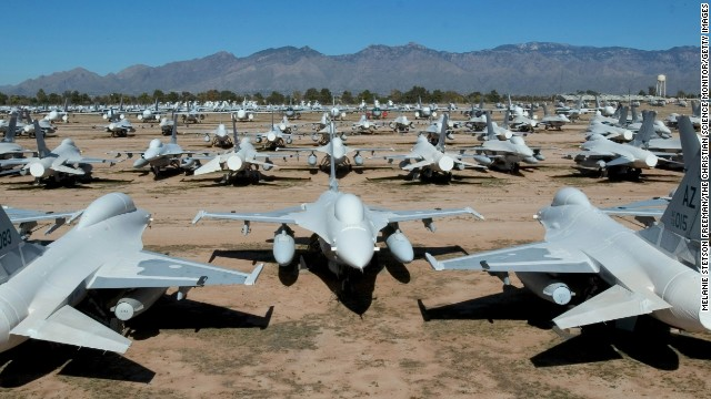 F-16 Fighting Falcons are parked at the Aerospace Maintenance and Regeneration Center in Tucson, Arizona, on December 11, 2004. General Dynamics (which was later sold to Lockheed) delivered the U.S. Air Force its first F-16As in 1979. More than 4,500 of the fighters have been built and are used by more than 20 nations in addition to the United States.