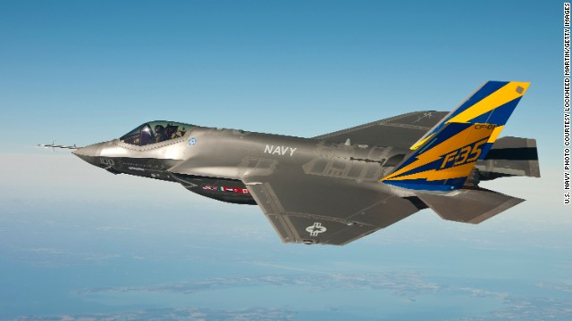 An F-35C conducts a test flight over the Chesapeake Bay on February 11, 2011.
