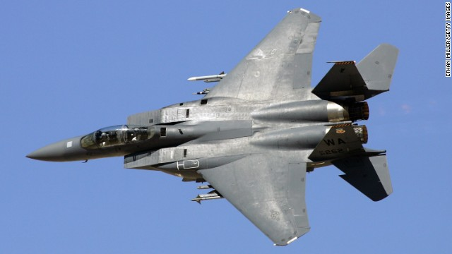 An F-15E Strike Eagle flies during a demonstration in 2007 near Indian Springs, Nevada. The F-15E was designed for long-range, high-speed interdiction without relying on escort or electronic warfare aircraft. It was derived from the F-15 Eagle, which was developed to enhance U.S. air superiority during the Vietnam War.