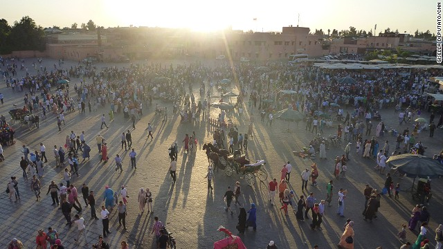The central square in Morocco, Jemaa el-Fna is a teeming expanse of vendors, medicine men and people plying ancient entertainments such as acrobatics and snake charming.
