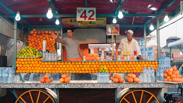 Jemaa el-Fna is a traditional haunt for food and drink vendors. Many carts sell freshly squeezed orange juice.