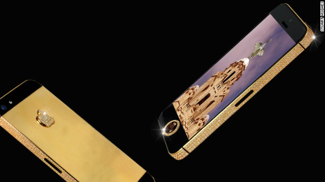 The world's most expensive iPhone, customized by luxury designer <a href='http://stuarthughes.com/newdawn/product_info.php?products_id=116' target='_blank'>Stuart Hughes</a>, is made out of 24-karat gold and encrusted with 600 flawless diamonds. For less than $17 million, the iPhone 5 Black Diamond can be yours.