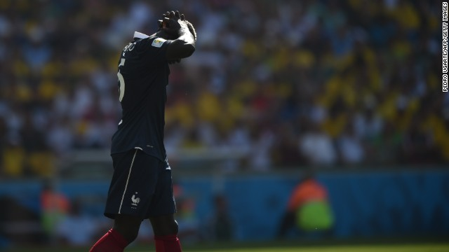 French defender Mamadou Sakho reacts after his team missed a shot on goal.