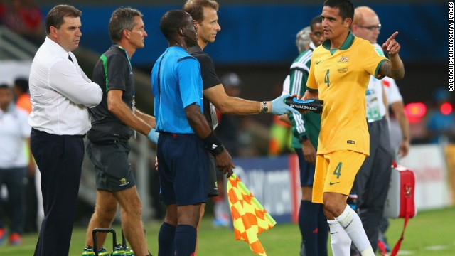 Australia's Tim Cahill appeals to the linesman after a disallowed goal during the Group B match between Chile and Australia at Arena Pantanal on June 13, 2014 in Cuiaba, Brazil.