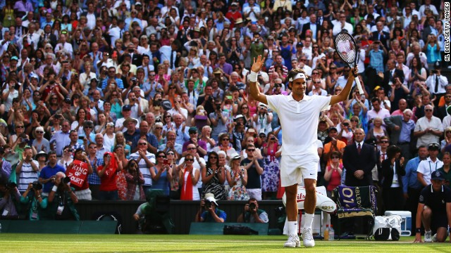 Was there ever any doubt? Federer takes the acclaim after serving out to ensure a 6-4 6-4 6-4 victory in one hour and 41 minutes. He will now face Novak Djokovic in Sunday's final.