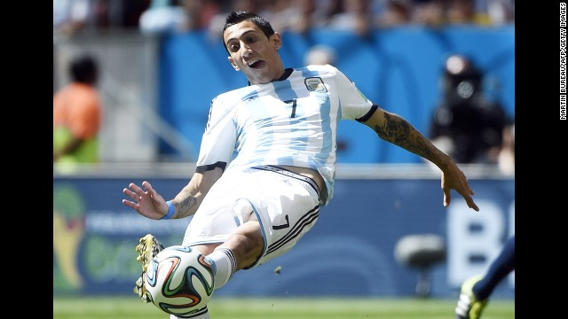 Argentina midfielder Angel di Maria kicks the ball.