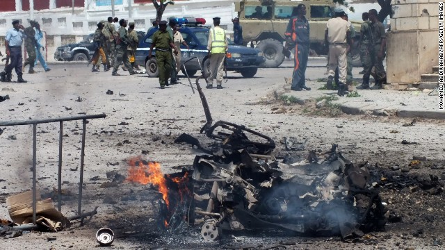 Little remains of a car bomb that exploded outside the Somali parliament building in Mogadishu on Saturday, July 5.