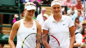 Petra Kvitova and Eugenie Bouchard pose before their final matchup at the All England Club.