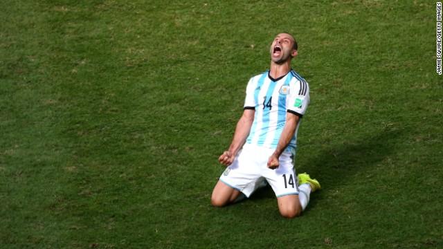 Javier Mascherano of Argentina exults.