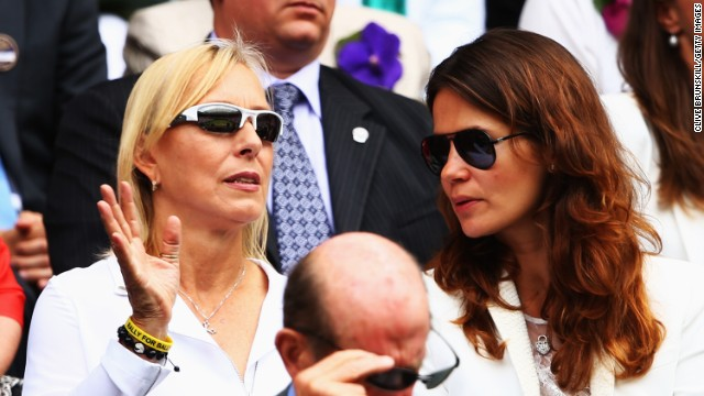 Eighteen-time grand slam champion Martina Navratilova (left) watched from the Royal box at Wimbledon as her compatriot, Kvitova, made the early running.