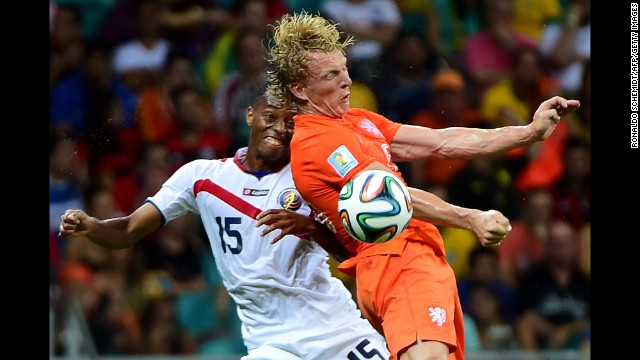 Costa Rica defender Junior Diaz, left, and Netherlands forward Jeremain Lens vie for the ball.