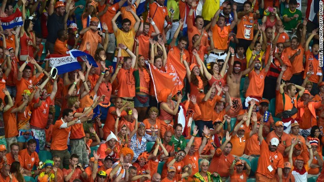 Dutch supporters cheer during the match.