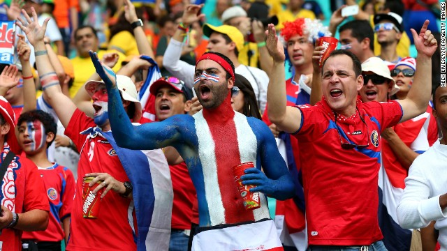 Costa Rica fans cheer prior to the game.