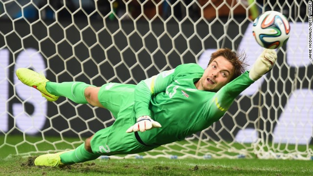 Tim Krul of the Netherlands knocks away a penalty kick by Michael Umana of Costa Rica.